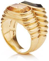 Portero 18k Yellow Gold Citrine and Peridot Vintage Bulgari Ring - Lyst
