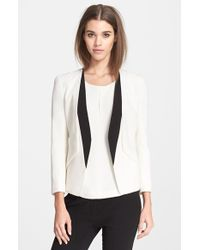 Narciso Rodriguez Contrast Lapel Wool Crepe Blazer - Lyst