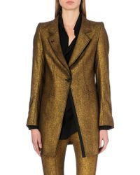 Ann Demeulemeester Metallic Gold Coated Elongated Jacket - Lyst