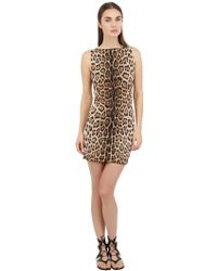 Roberto Cavalli Reversible Leopard Printed Lycra Dress - Lyst