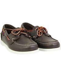 Sebago Docksides Burgundy Leather Boat Shoes - Lyst