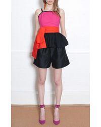 Isa Arfen - Cotton Silk Faille Classic Shorts With Grosgrain Trim - Lyst