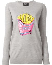 Markus Lupfer Sequins Embroidered Fries Sweater gray - Lyst