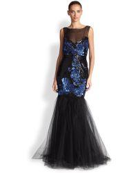 Badgley Mischka Floralsequin Tulle Gown - Lyst
