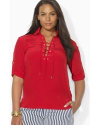 Ralph Lauren Lauren Plus Laceup Silk Shirt - Lyst