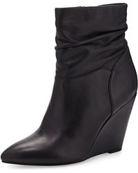 Seychelles Set in Stone Leather Wedge Bootie - Lyst
