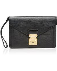 Vintage Louis Vuitton Black Epi Flat Case - Lyst