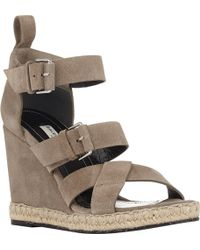 Balenciaga Double-Buckle Wedge Espadrille Sandals - Lyst