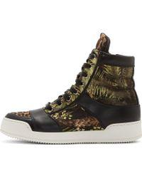 Balmain Green Jungle Kol High_top Sneakers - Lyst