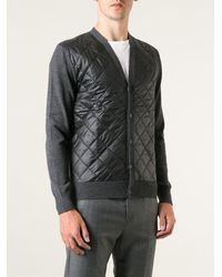 Michael Kors Quilted Panel Cardigan - Lyst