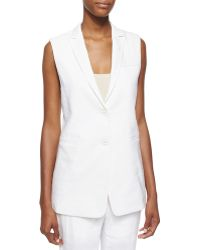 Helmut Lang Sleeveless Two-Button Linen Blazer - Lyst