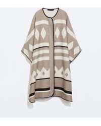 Zara Beige Cape Coat - Lyst