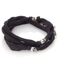 King Baby Studio   Sterling Silver & Silk Skull Wrap Bracelet   Lyst