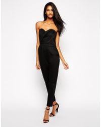 Asos Jumpsuit With Pleated Bust Front - Lyst