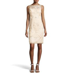 Sue Wong Open-back Beaded Cocktail Dress - Lyst