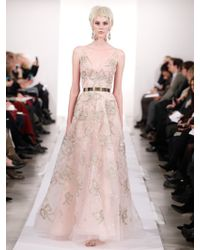 Oscar de la Renta Lame Bow Embroidered Tulle Gown - Lyst