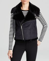 Two By Vince Camuto - Faux Shearling Moto Vest - Lyst