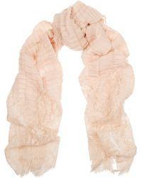 Valentino Pink Crinkled-Cashmere Scarf - Lyst