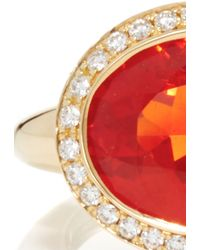 Pamela Huizenga | 18K Gold Ring With Mexican Fire Opal And A Diamond Nest | Lyst