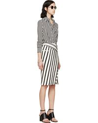 Altuzarra White And Black Crepe Striped Candide Bodysuit - Lyst
