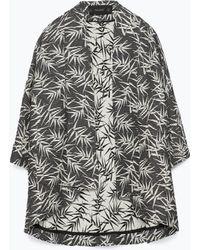Zara Palm Tree Print Kimono black - Lyst