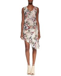 Haute Hippie Silk Asymmetric Crossover Dress Buff Multi Small - Lyst