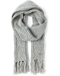 Diesel Cable Knit Fringed Scarf - Lyst