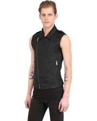 Gareth Pugh Sleeveless Stretch Denim Biker Vest - Lyst