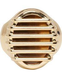 Maison Martin Margiela Gold Caged Stone Ring - Lyst