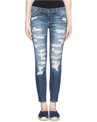 Current/Elliott The Stiletto' Ripped Slim Cropped Jeans - Lyst