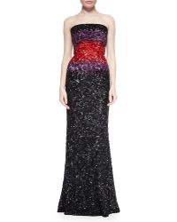 Elie Saab Strapless Ombre Beaded Gown - Lyst