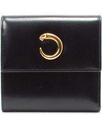 Cartier Black Leather Wallet black - Lyst