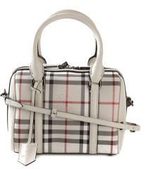 Burberry House Check Leather Tote Bag - Lyst