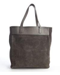 Saint Laurent Slate Grey Suede Studded Tote Bag With Removable Pouch - Lyst