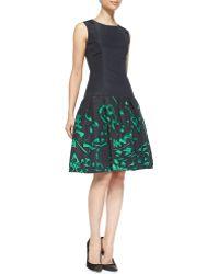 Oscar de la Renta Sleeveless Printed Flaredskirt Dress - Lyst