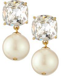 Kate Spade Faux Pearl and Crystal Drop Earrings - Lyst
