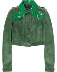 Burberry Prorsum Cropped Patent Leather-Paneled Suede Jacket - Lyst