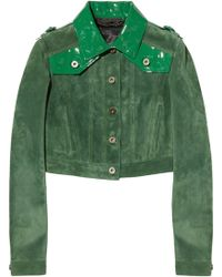 Burberry Prorsum Cropped Patent Leather-Paneled Suede Jacket green - Lyst