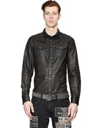 Diesel Washed Leather Western Style Shirt - Lyst