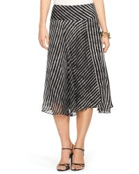 Lauren by Ralph Lauren Striped Faux-Wrap Skirt - Lyst