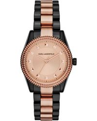 Karl Lagerfeld Two Tone Petite Stud Watch - Lyst