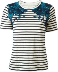Tory Burch Floral Striped T-shirt - Lyst