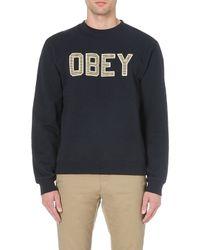 Obey Belton Sweatshirt Navy - Lyst