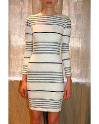 Yigal Azrouël Stripe Knit Dress Optic - Lyst