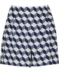 O'2nd - Blue Cube Print Cloqué Shorts - Lyst