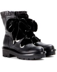 Alexander McQueen Black Leather Boots - Lyst