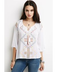 Forever 21 Embroidered Gauze Peasant Top - Lyst