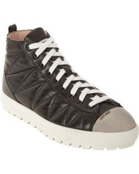Miu Miu Quilted Leather Cap Toe High Top Sneakers - Lyst