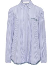 Thakoon Addition - Striped Cotton Shirt With Fringed Detail - Lyst