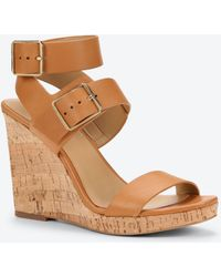 Ann Taylor Sylvie Leather And Cork Wedges brown - Lyst